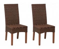 Lot de 2 chaises MANAYA - Rotin tressé & Acajou