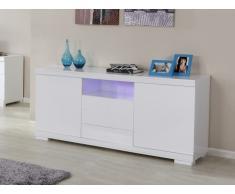 Buffet PLUTON - MDF laqué blanc - LEDs - 2 portes & 3 tiroirs