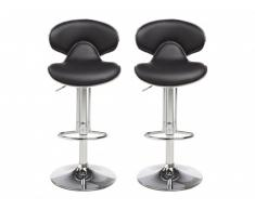 Lot de 2 tabourets de bar LUNA II - Simili - Noir graphite