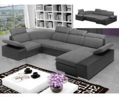 Canapé d'angle panoramique convertible en tissu et simili CYRANO - Bicolore anthracite/noir - Angle droit