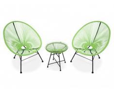 Salon de jardin ALIOS II en fils de résine tressés - Anis : 2 chaises et une table