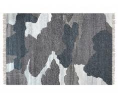 Tapis SIA tissé main en laine effet vachette COUNTRY - 160x230cm - Gris anthracite