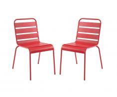Lot de 2 chaises de jardin empilables MIRMANDE en métal - Rouge
