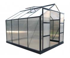 Serre de Jardin en polycarbonate de 7.5 m² GREENEA II avec embase - Anthracite