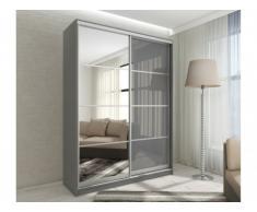 Armoire avec miroir YELENA - 2 portes coulissantes - L.160 cm - Gris