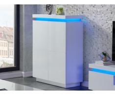 Buffet haut EMERSON II - 4 portes - MDF laqué blanc - LEDs