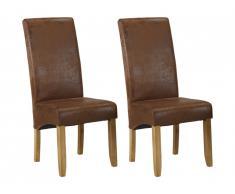 Lot de 2 chaises SANTOS - Microfibre aspect cuir vieilli - Pieds bois clair