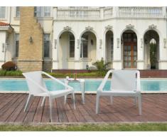 Salon de jardin HIRO : 2 fauteuils et une table basse - Blanc