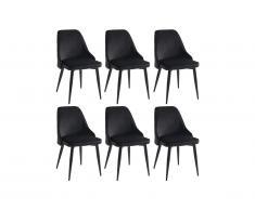 Lot de 6 chaises EZRA - Velours et métal - Noir