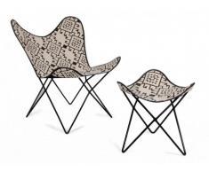 Fauteuil et repose-pieds Butterfly MOKOROA 100% coton - motif ethnique noir et blanc
