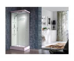 Cabine de douche hydromassante TYRAL - 6 zones de jets de massage - L90 x l 70 x H212 cm - pluie tropicale et douchette