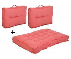 Lot 1 matelas + 2 dossiers palette BAILA - coton et polyester - Orange sanguine