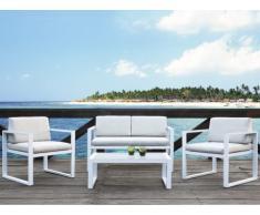 Salon de jardin PALAOS - Canapé 2 places + 2 fauteuils + table basse - Gris