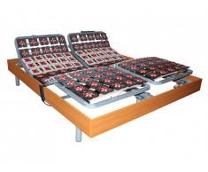 Sommier de relaxation 2x91 plots déco bois merisier de DREAMEA - 2x100x200cm - moteurs OKIN