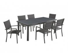 Salle à manger de jardin extensible OLERON en aluminium: une table extensible L180/240cm et 6 fauteuils empilables - Rallonge automatique