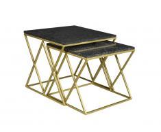 Tables basses gigognes ISOCELIS - Marbre & métal - Noir & Doré