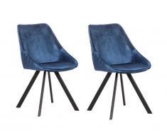 Lot de 2 chaises VIENNA - Velours & Métal - Bleu Nuit