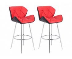 Lot de 2 tabourets de bar LIZZY 4 pieds - Simili - Bicolore rouge et noir