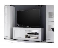 Meuble TV COMETE - avec LEDs - 1 porte et 1 niche - Blanc laqué