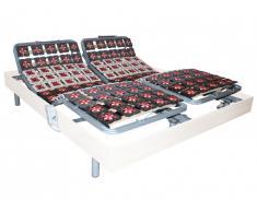 Sommier électrique de relaxation 2x65 plots déco bois blanc de DREAMEA - 2 x 80 x 200 cm - moteurs OKIN