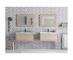 Meuble de salle de bain suspendu double vasque ALANA avec miroirs - couleur chêne