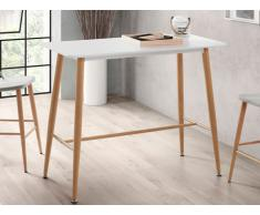 Table haute DAGMAR - MDF & Métal effet chêne - Blanc