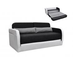 Canapé 2 places convertible en tissu et simili VILO - Blanc et anthracite