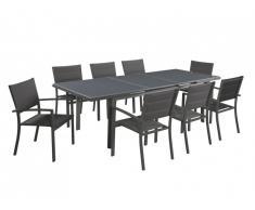 Salle à manger de jardin extensible OLERON en aluminium: une table extensible L180/240cm et 8 fauteuils empilables - Rallonge automatique