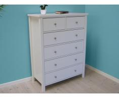 Commode SANDRINE - 6 tiroirs - Pin blanc