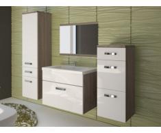 Ensemble NASSAU - meubles de salle de bain - laqué blanc et bois marron