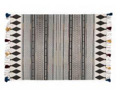 Tapis à franges style ethnique SARAH -100% Coton - 140 x 200 cm - Gris