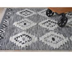 Tapis style berbère IRINEY - 100% Laine - 160*230 cm - Ivoire, gris, noir