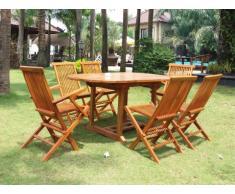 Salle à manger de jardin AKUDA - Teck: 1 table extensible, 2 fauteuils, 4 chaises