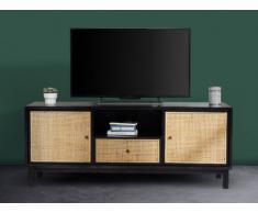 Meuble TV KAMALA - 2 portes & 1 tiroir - Bois de mindi & résine tressée - Noir