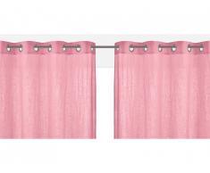 Lot de 2 rideaux à oeillets FIGUIERA - 100% lin - 140x260cm - Rose