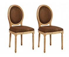 Lot de 2 chaises LOUIS XVI - Microfibre aspect cuir vieilli