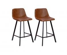 Lot de 2 Tabourets de bar MADERE - Simili - Caramel