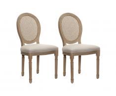 Lot de 2 chaises MARIE-ANTOINETTE en cannage - Tissu & Bois d'Hévéa - Beige