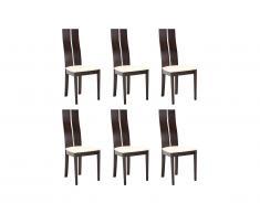 Lot de 6 chaises SALENA - Hêtre massif wengé
