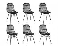Lot de 6 chaises NASURA - Rotin - Noir