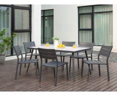 Salle à manger de jardin SAIPAN en aluminium et plateau céramique - une table et 6 chaises empilables