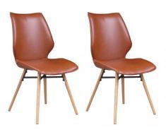 Lot de 2 chaises AMERIGO - Simili aspect cuir & Chêne