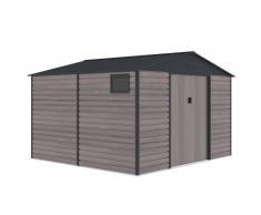 Abri de jardin en acier galvanisé effet bois ADELMO - gris - 10,98 m²