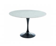 Table à manger NORAH - 4 couverts - Marbre et métal - Blanc et Noir