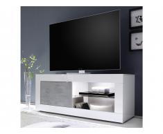 Meuble TV COMETE - LEDs - 1 Porte - Blanc laqué et béton