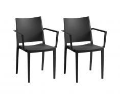 Lot de 2 chaise empilables avec accoudoirs TOXA - Polypropylène - Noir