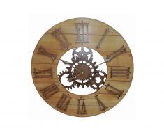 Horloge murale rouages style industriel CARLOW - MDF et métal - D.60cm - Naturel