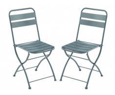Lot de 2 chaises de jardin pliantes MIRMANDE en métal - Anthracite