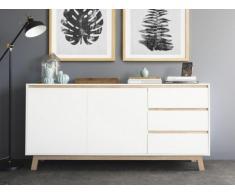 Buffet ENOK - 2 portes & 3 tiroirs - Blanc