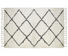 Tapis style berbère MARCUS - 100% laine - 120 x 170 cm - Beige et noir